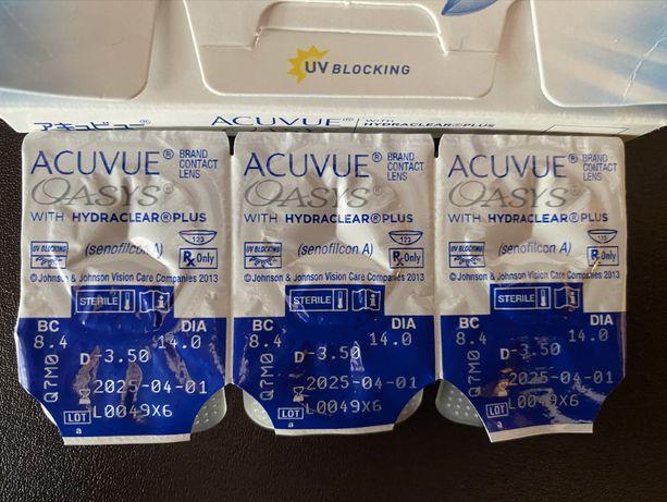 Soczewki kontaktowe ACUVUE OASYS J&J HYDRACLEAR® PLUS 3 sztuki -3,50
