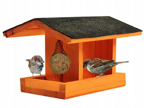 Drewniany Karmnik Budka Dla Ptaków Karma Ziarno M