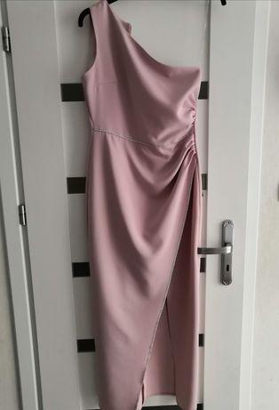 Sukienka  na jedno ramię pudrowa cyrkonie elegancka S jak illuminate