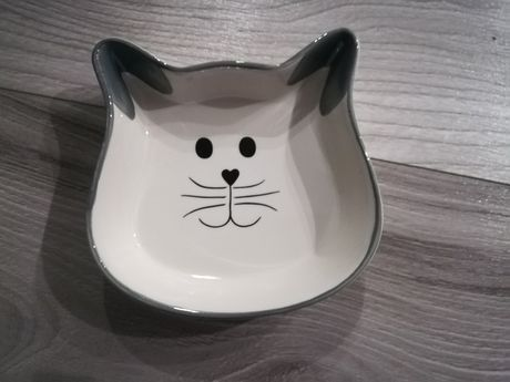 Miska dla kota ceramiczna szara popiel biała
