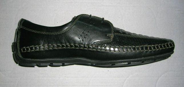 PÓŁBUTY buty męskie GENIUS eleganckie czarne skórzane, rozm. 46, NOWE