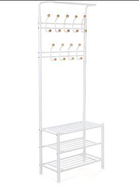 Wieszak metalowy do przedpokoju z półkami stojący garderoba
