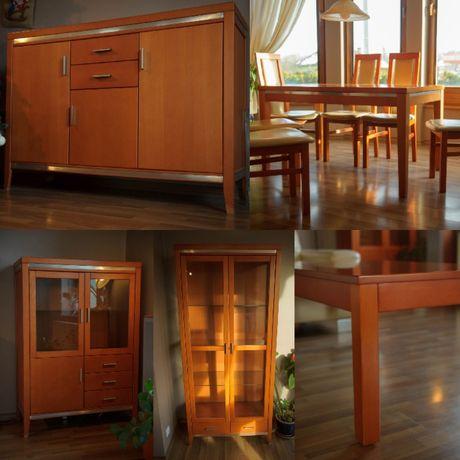 Komplet mebli do salonu - stół, krzesła, komody, stolik kawowy