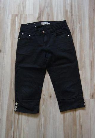 Czarne krotke 3/4 materialowe spodnie spodenki rybaczki 36 S 38 M
