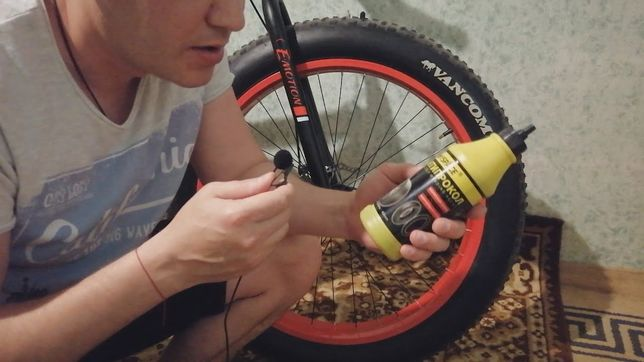 Закачка антипрокольного геля,заклейка и ремонт колес