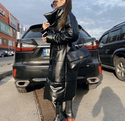 Черный длинный кожаный пуховик зимняя куртка с поясом