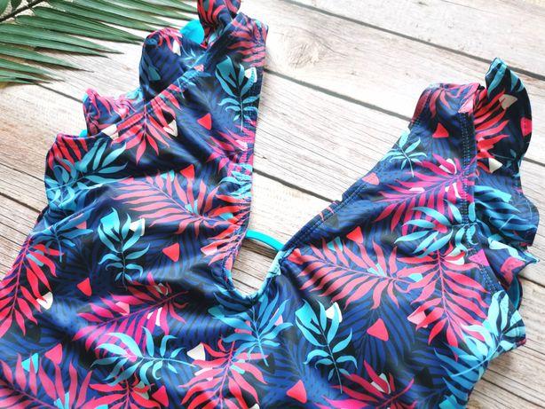 Jednoczęściowy kostium kąpielowy w kwiaty z falbankami r. L