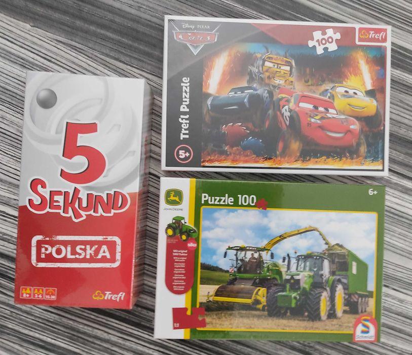 Puzzle John Deere + traktor cars trefl gra 5 sekund NOWY zestaw Kazimierz Biskupi - image 1