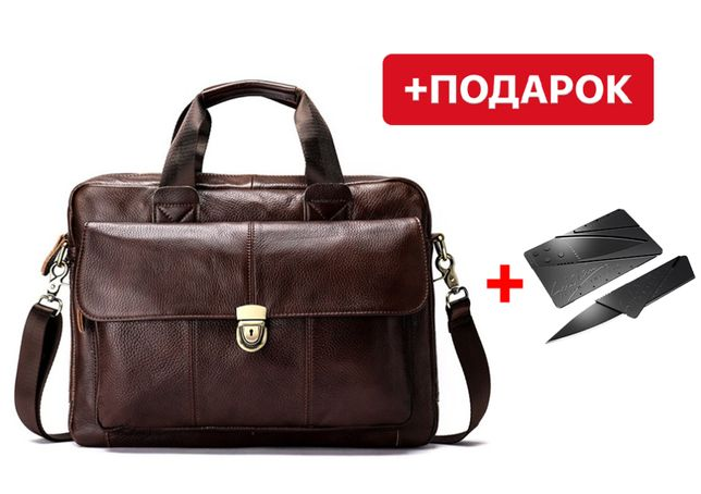 Мужская коричневая сумка через плечо Westal L&K A4 из натуральной кожи