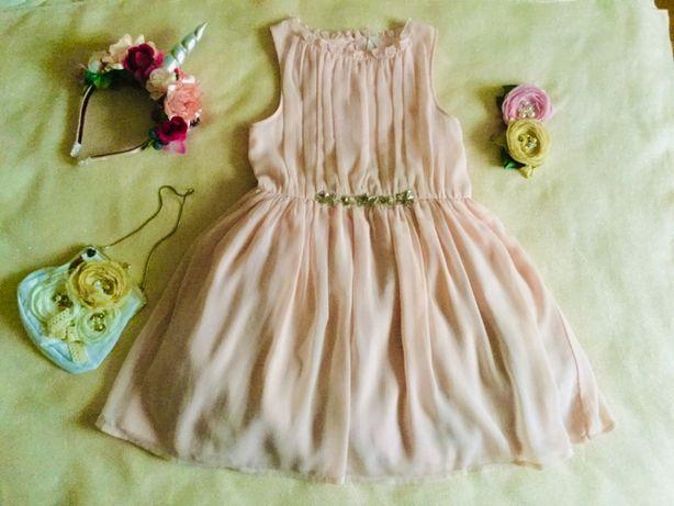 NEXT. Последняя коллекция. Нежное Пудровое платье. Цвет Шампань. Пыш