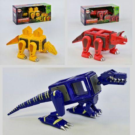 Конструктор магнитный LQ 623,624,625 Динозавр, свет, звук, в короб