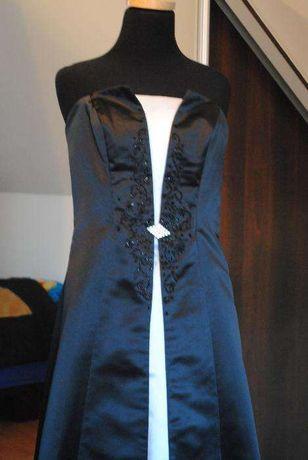 Sukienka dluga czarno biala S/36