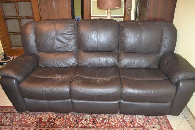 Wypoczynek skórzany, skóra, sofa i 2 fotele komplet