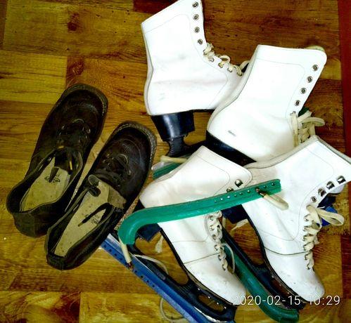 Коньки для фигурного катания. Лыжные ботинки. Коньки СССР.