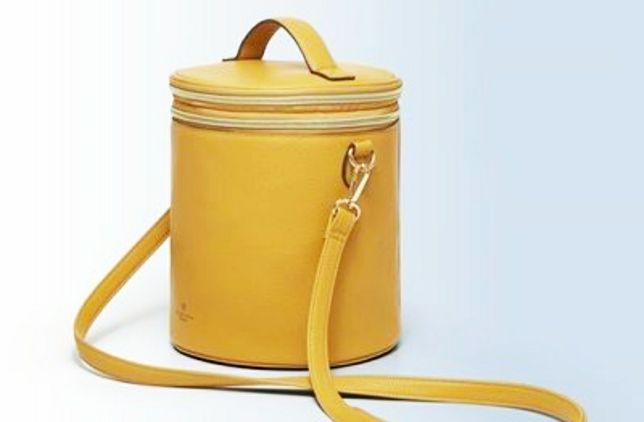 Бьюти кейс, сумка цилиндр желтая