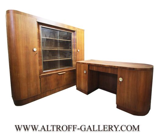 Komplet gabinetowy z 1930 Bauhaus ART DECO biurko oraz biblioteka