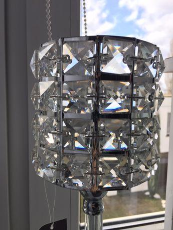 Świecznik kryształowy srebrny glamour dekoracyjny nowy  śliczny