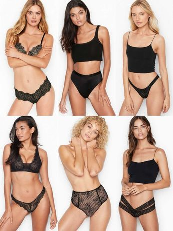 Трусики Victorias Secret черные трусы оригинал Виктория Сикрет