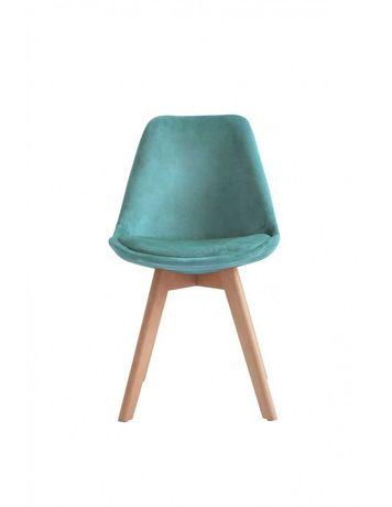 Krzesło Nowoczesne Tapicerowane Drewniane - Zielone