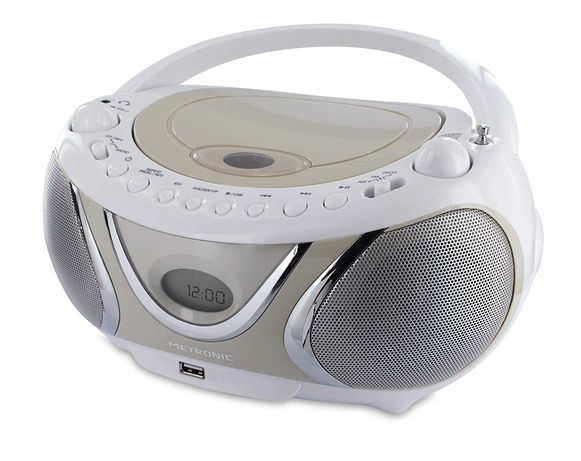 Radio CD MP3 Metronic 477116 BoomBox Casual biały/beżowy