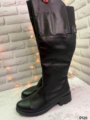 Сапоги женские кожаные зимние на натуральном меху без каблука,