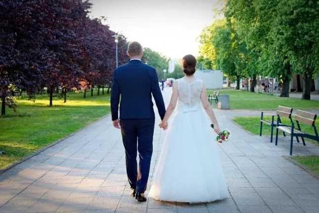 Suknia princeska koronka tiul biała r.38 S11