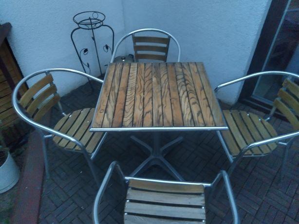 Komplet ogrodowy stół krzesła aluminiowy