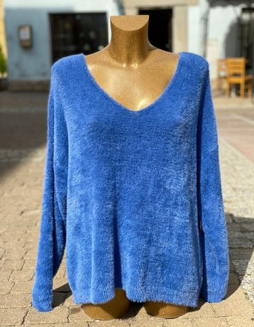 Sweter alpaka chabrowy, jeansowy niebieski XL oversize