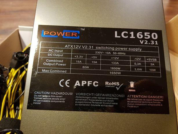 Zasilacz LC1650 ATX LCPOWER do serwera dla graczy koparka kryptowalut