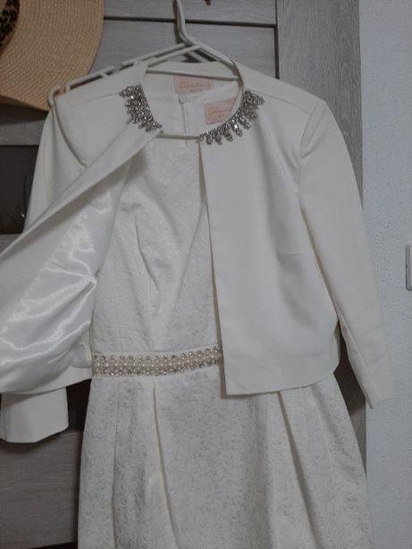 Sukienka biała okolicznościowa z bolerkiem +gratis Mohito 36