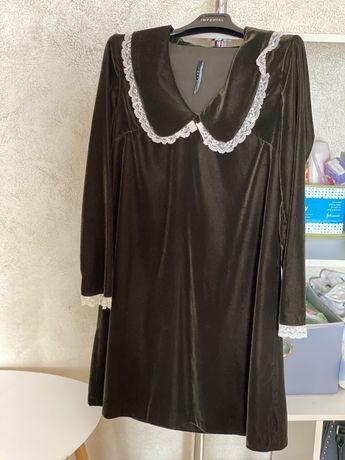 Шикарне плаття італійське брендове Imerial s бархатне хакі