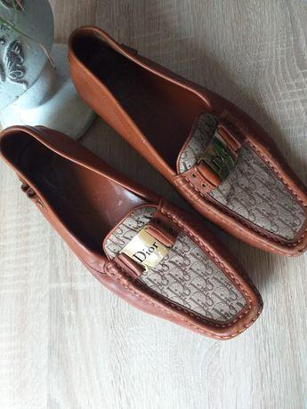 Dior flats brown orginał skóra nr seryjny okazja