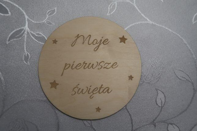 Drewniana tabliczka do zdjęć Moje pierwsze święta