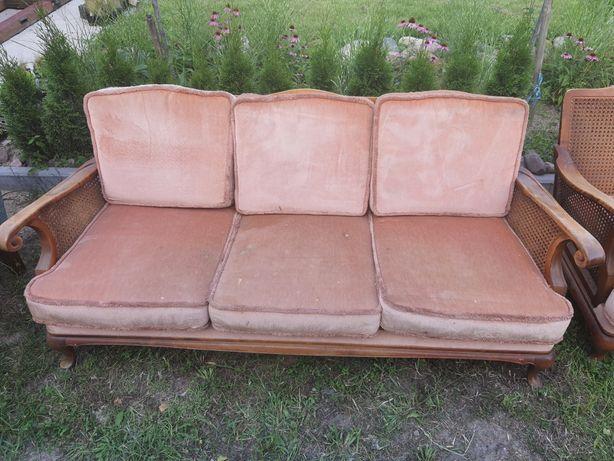 Zestaw kanapa +2 fotele ludwik z rafią