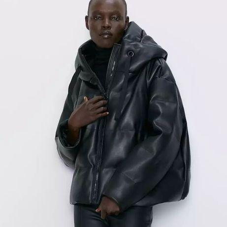 Куртка пуховик эко кожа не zara
