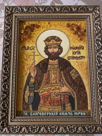 Икона из янтаря св.Юрий новая