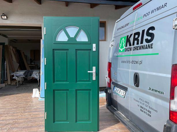 Drzwi zewnętrzne drewniane ocieplane zielone OD RĘKI CAŁA POLSKA