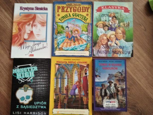 Zestaw książek dla młodszej młodzieży, w tym lektury