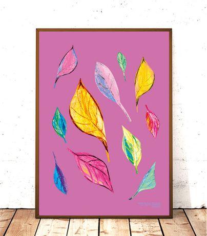 liście plakat, kolorowa dekoracja, ładny plakat, plakat do przedpokoju