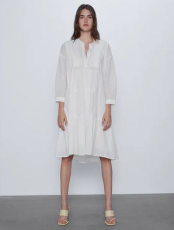 Свободное белое платье хлопок zara