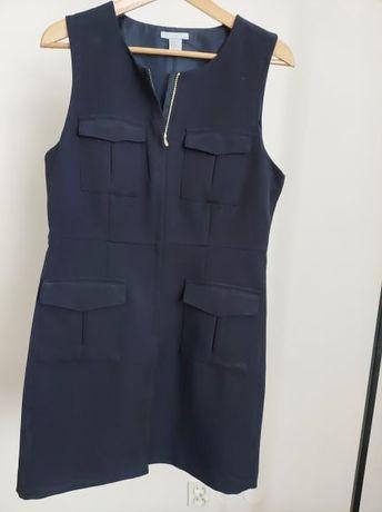 Czarna rozpinana sukienka H&M z kieszonkami bez rękawów rozmiar 44