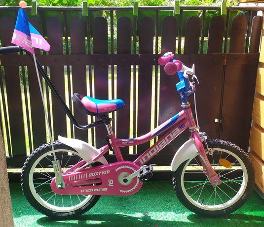 Piękny rowerek dla dziewczynki Indiana Roxy Kid 16 różowo-niebieski