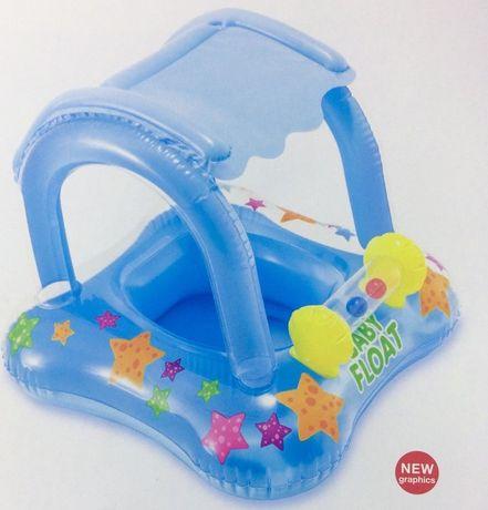 Детский надувной круг Intex, плотик-ходунки с навесом