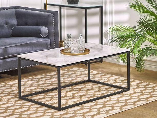 Mesa de centro com efeito de mármore com pés pretos DELANO - Beliani