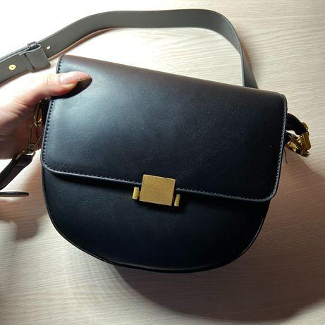Женская сумка через плече Черная и Коричневая