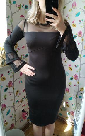 Czarna sukienka Ryłko z bufiastymi rękawami
