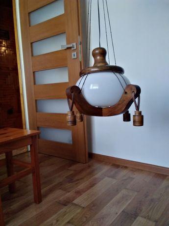Żyrandol - drewno, szkło