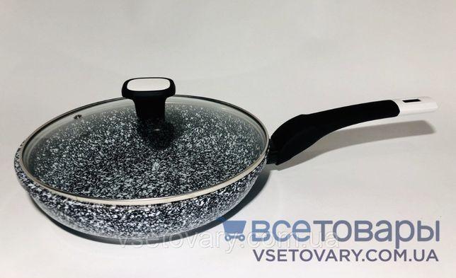 Сковорода гранитная с крышкой UNIQUE, 26 см