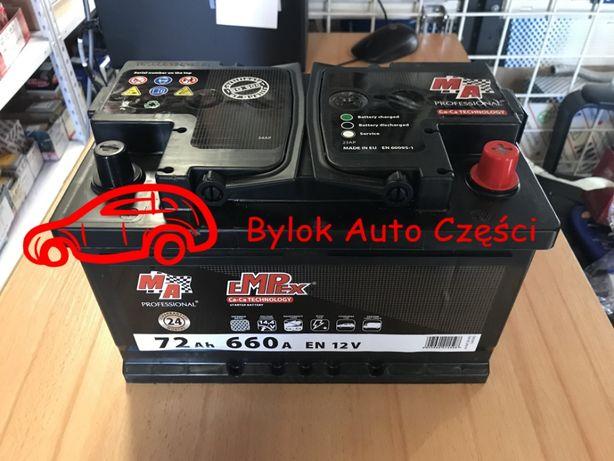"""AKUMULATOR 72AH/660A """"Moje Auto"""" NOWY!!! Prawy+ """"Bylok Auto Części"""""""