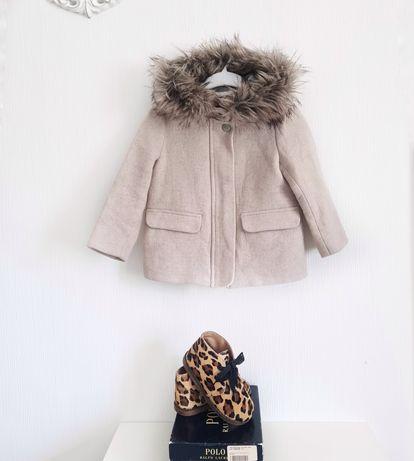 Шерстяное пальто Zara Girls р. 104 на 4 года